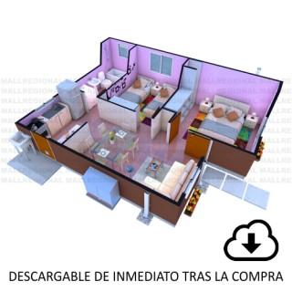 Descarga proyecto Vivienda, Casa Avellano 42.74 m2