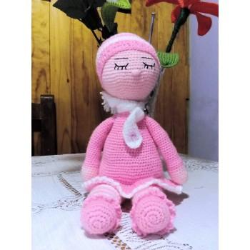 Dormilona con cascabel que suena color rosada 35cm
