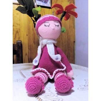 Dormilona con cascabel color rosa obscuro 40cm